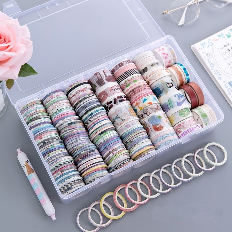 100 rolls Washi Tape Set,Foil Gold Skinny Washi Tapes,3MM Wide for scrapbook/journal masking tape for decorative your book