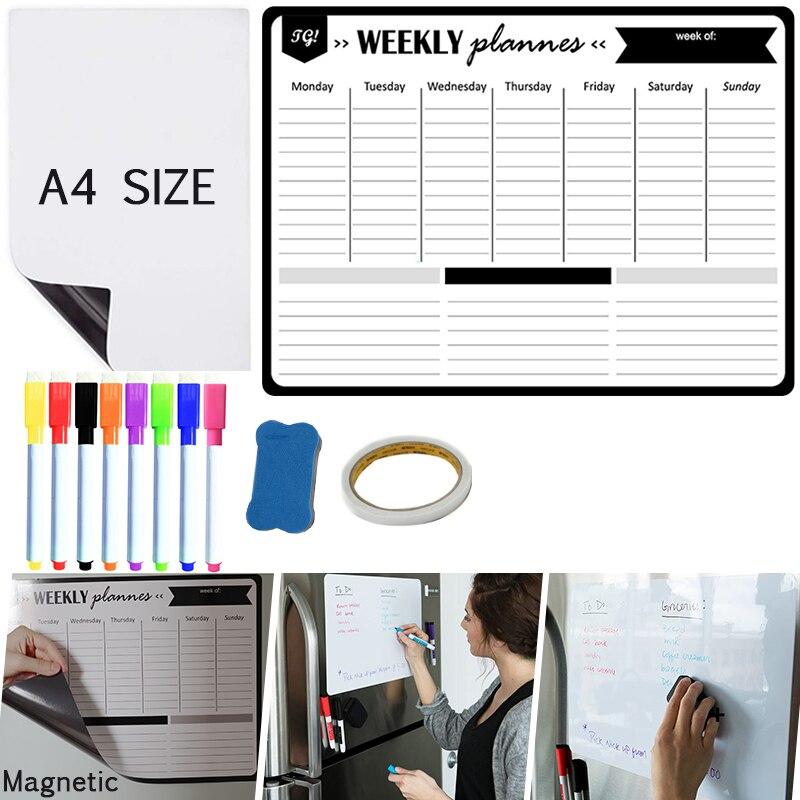 Еженедельный Ежемесячный Планировщик Календарь магнитная доска стираемые наклейки на стену холодильник память сообщения рисунок магнитн...