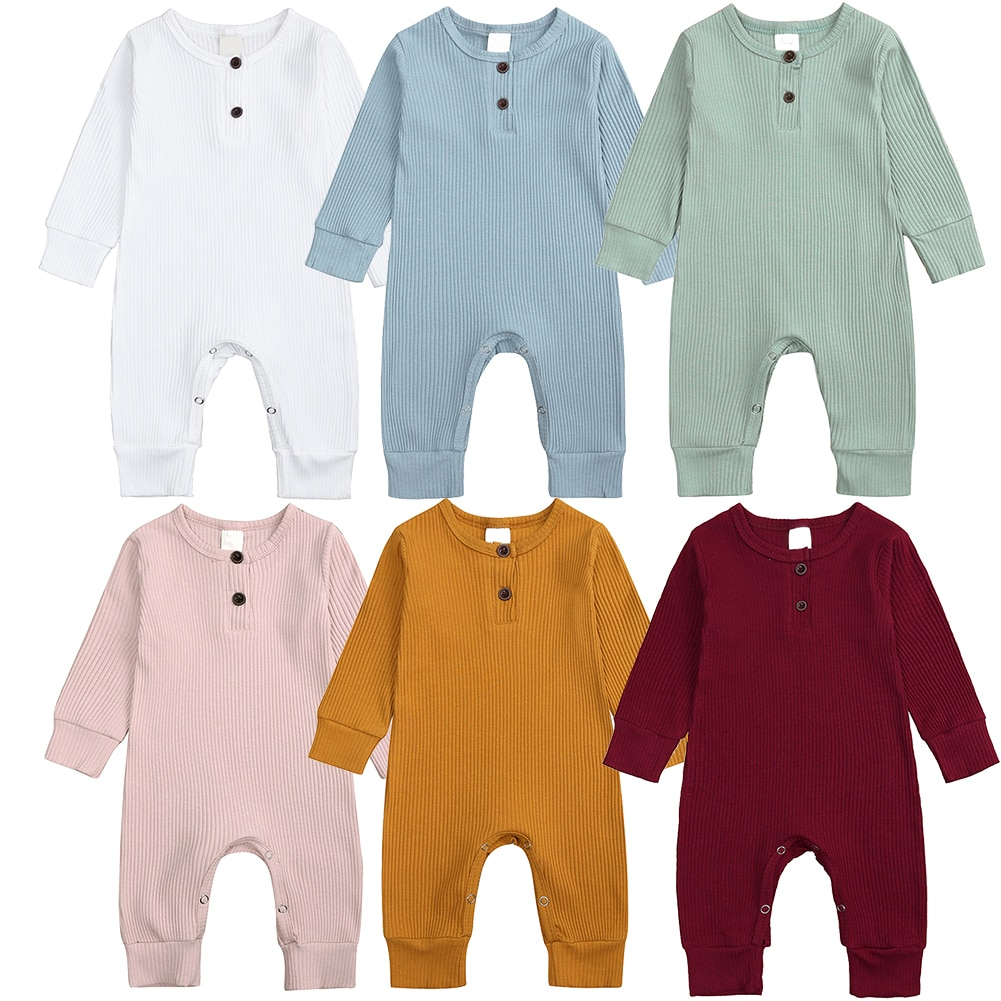 Baby Spring Autumn Clothing Newborn Baby Girl Boy Ribbed Clothes Knitted Cotton Romper Jumpsuit Solid 2PCS Outfits 2021 Hot Sale