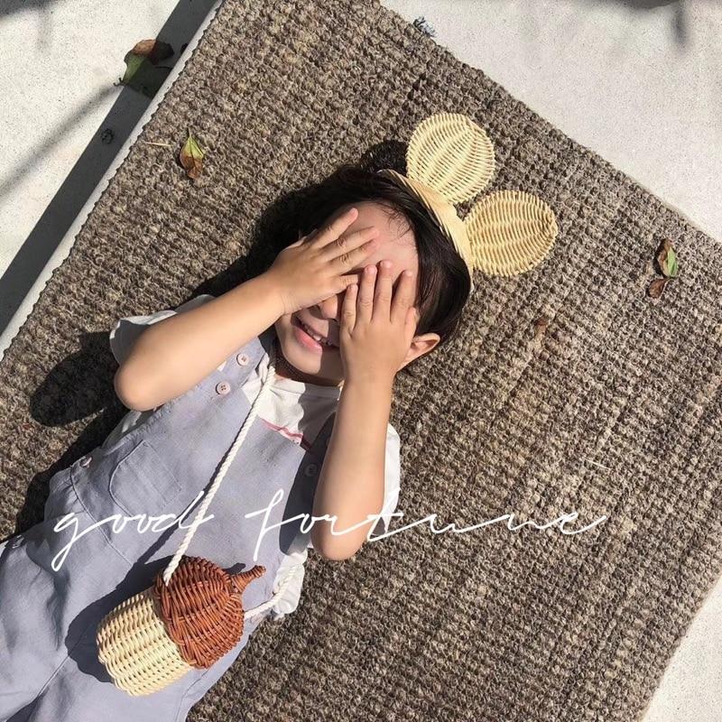 Bolso de mano de Pinecone bonito para niños, bolso de mensajero tejido de pelo creativo para niños, bolsa de paja de mimbre hecha a mano