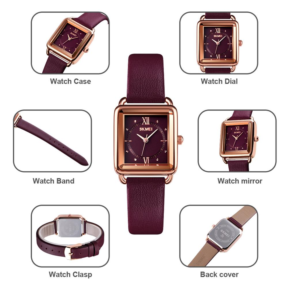 SKMEI Genuine Leather Strap Women's Watches Ladies Quartz Clock Waterproof Female Wristwatch Montre Femme Relogio Feminino 1702 enlarge