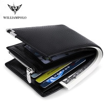 WILLIAMPOLO Men Wallet Black Leather Clip Purse Card Coin Pocket Zipper Design bifolds Money Bag Male Business Cowhide Wallets