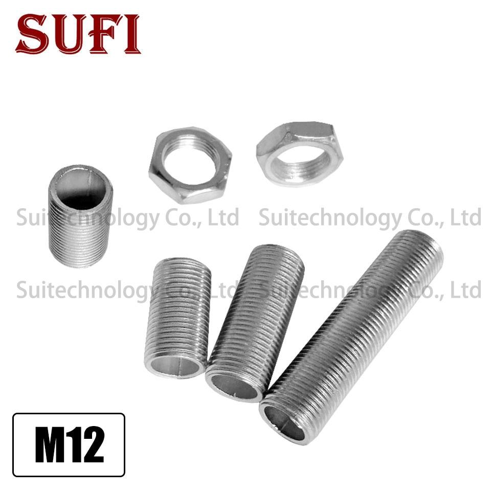 5pcs M12*1 hollow screw full tube screw nut galvanized table lamp chandelier Floor light bedside lamp DIY lighting fixture