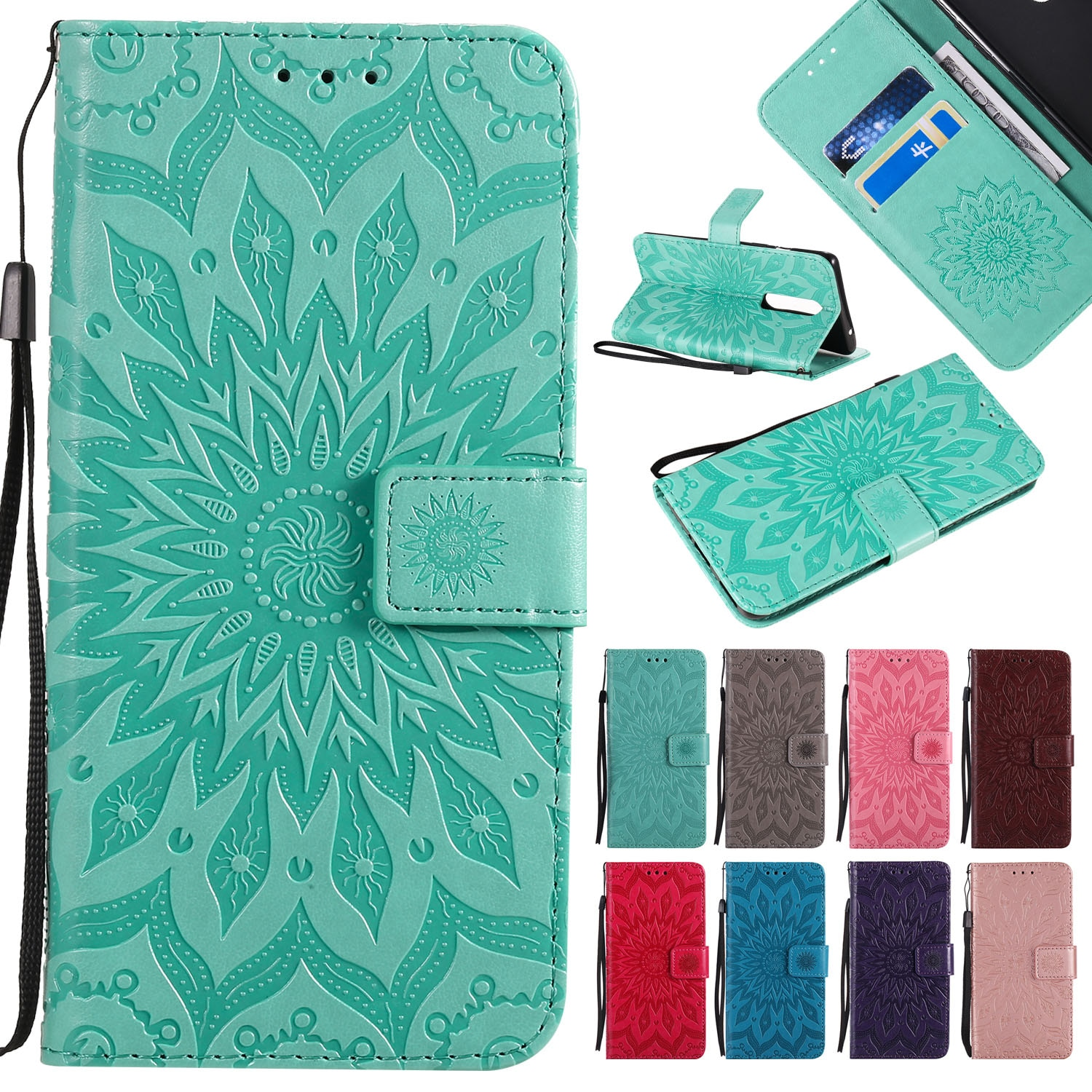 3D Wallet Flip Sunflower Leather Case For Samsung S20 S10 S9 S8 S7 S6 S5 S4 S3 Note 3 4 5 8 9 10 Plus Lite Soft TPU Phone Cover