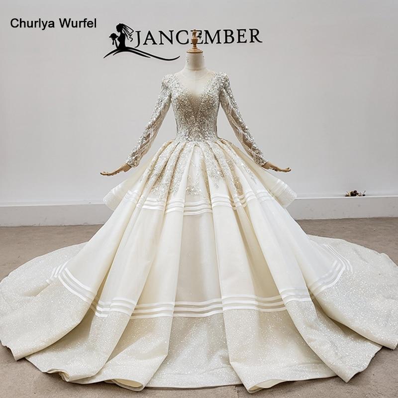 HTL1603 de lujo superior con perlas y lentejuelas vestidos de novia 2020 o-Cuello de manga larga bola de cristal-Vestidos فساتين نسائيه