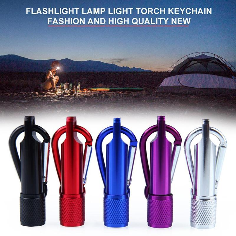 Outdoor LED Camping Flashlight Aluminum Keychain Keyring Super Bright Mini Portable LED Light Self Defense Torch Lamp Supplies