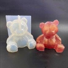 3D 곰 실리콘 금형 diy 기하학 스테레오 곰 금형 거울 실리콘 금형 장식 장식 금형