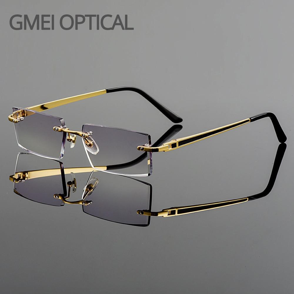 Gmei-نظارات بصرية عصرية بدون إطار ، نظارات من سبائك التيتانيوم ، عدسات عادية ، قطع ماسي ، بدون حواف ، ديوبتر