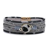 fashion elegant unisex bracelet leopard crystal decoration magnet buckle horse hair multi layer leather bracelet jewelry
