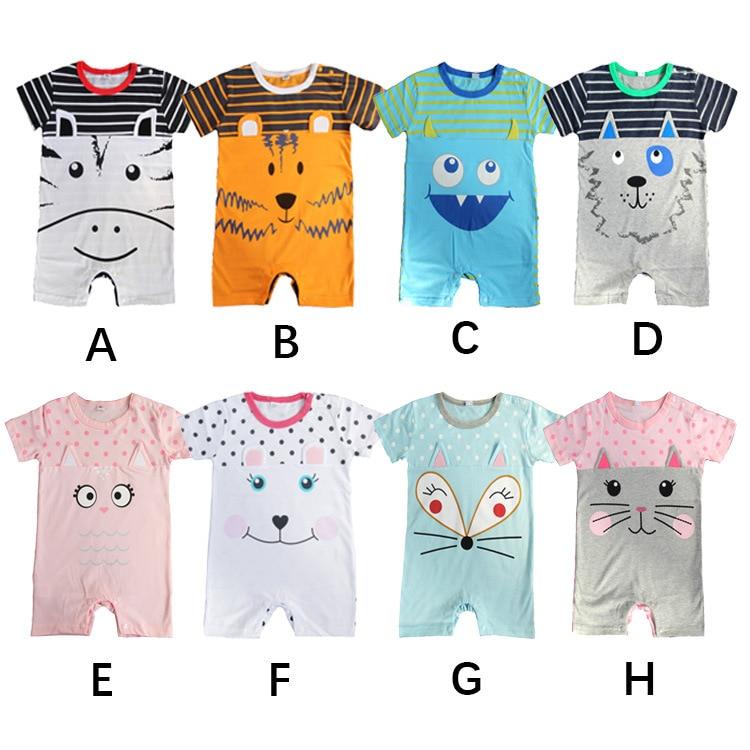 2018 Summer Newborn Baby Boy girl Romper Short Sleeve Jumpsuit Cartoon animal Printed Baby Rompers Baby Clothes 1 9 12 M