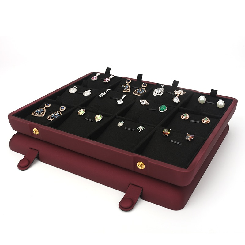 Flat Red Pu Leather Concealed Button Pendant Earring Storage Tray For Counter Window Display Built-in 12 Cells Velvet Card Slot