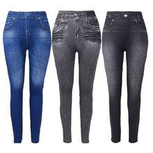 Women Fleece Lined Winter Jeggings Faux Jeans Seamless High Waist Slim Fashion Jeggings Leggings Wom