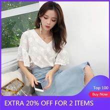 Mishow 2020 nova manga curta blusas branco floral v pescoço camisas rendas doce feminino roupas casuais chiffon feminino topos mx18b4580