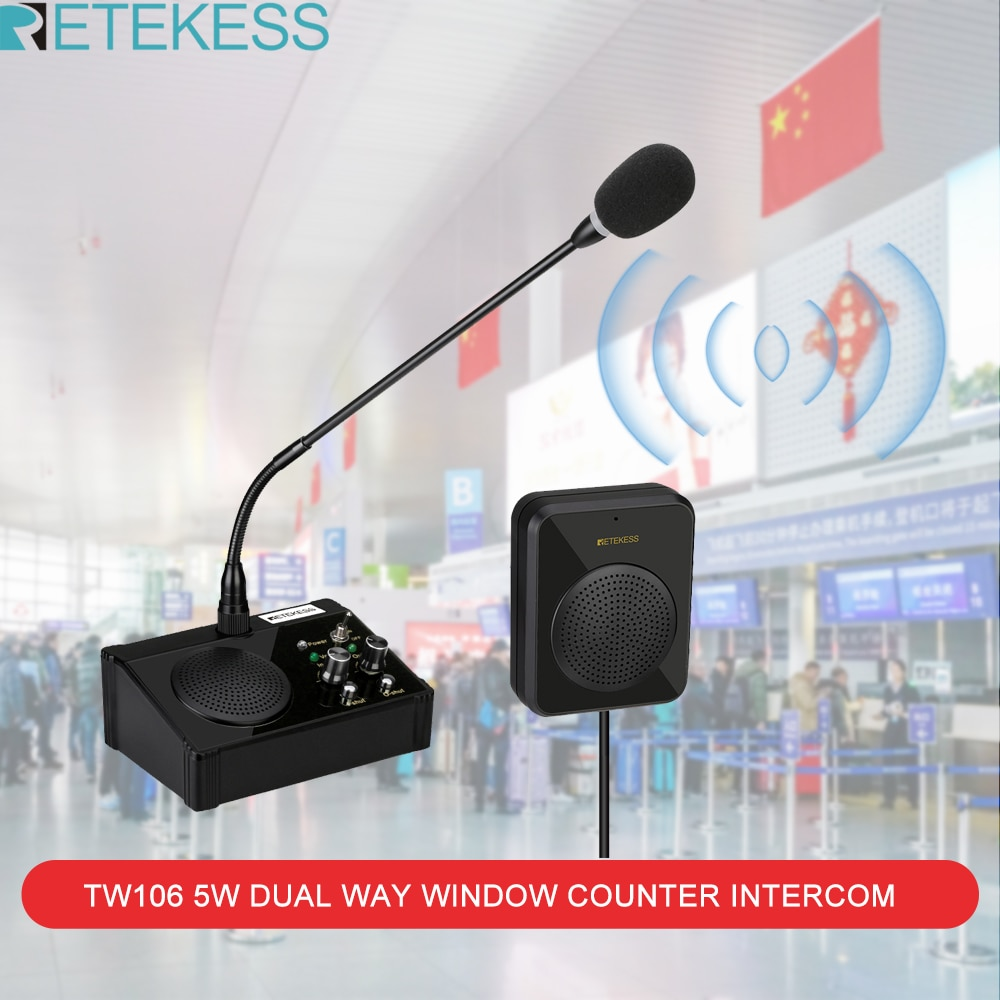 e361 black bank equipment wireless intercom for in and out window Retekess TW106 5W Dual Way Window Counter Intercom Counter Interphone System For Restaurant Bank Office Store