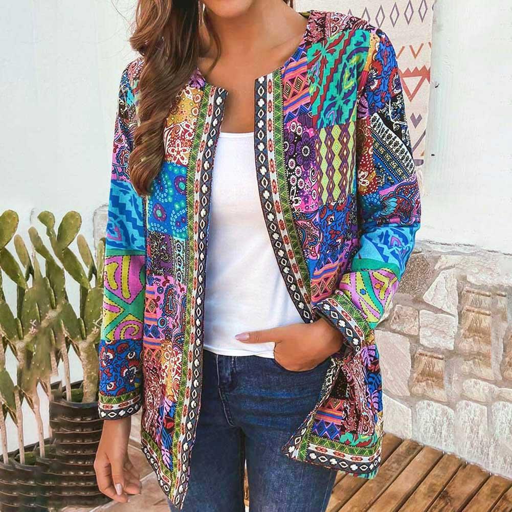 6XL Jacket Coat Women Fashion Autumn Winter Ethnic Floral Print Long Sleeve Loose Jacket Coat Cardig