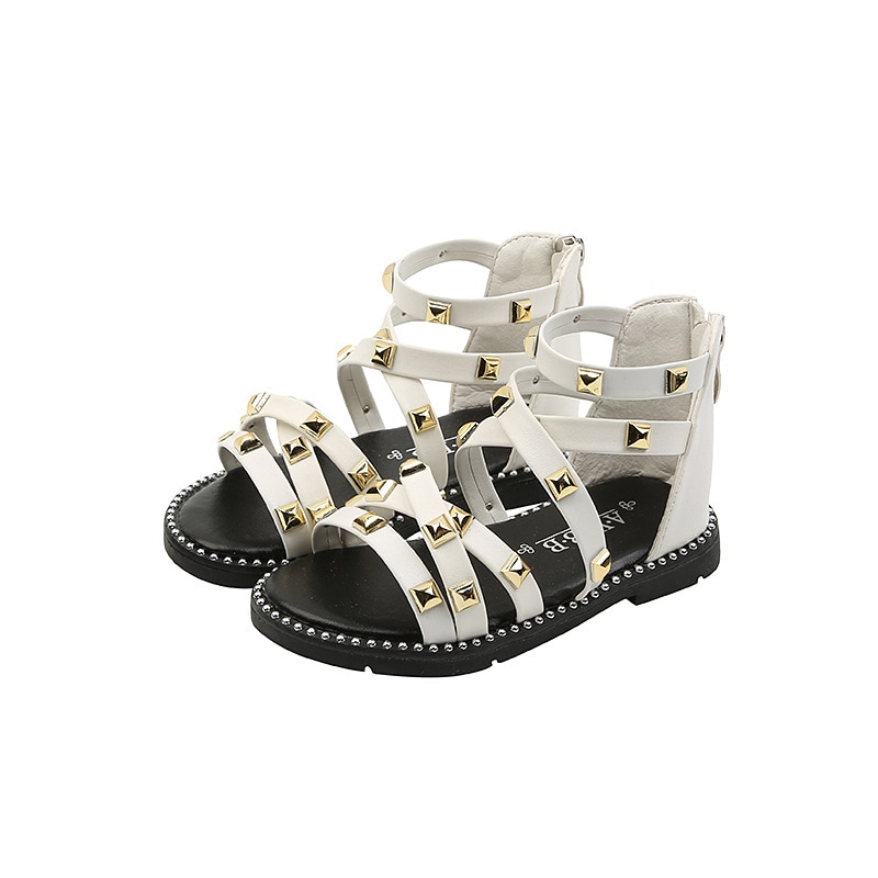 Girls Sandals 2021 Summer Children Gladiator Roman Sandals Rivets Classic Kids Beach Shoes Zipper Soft Leather Comfortable 21-36