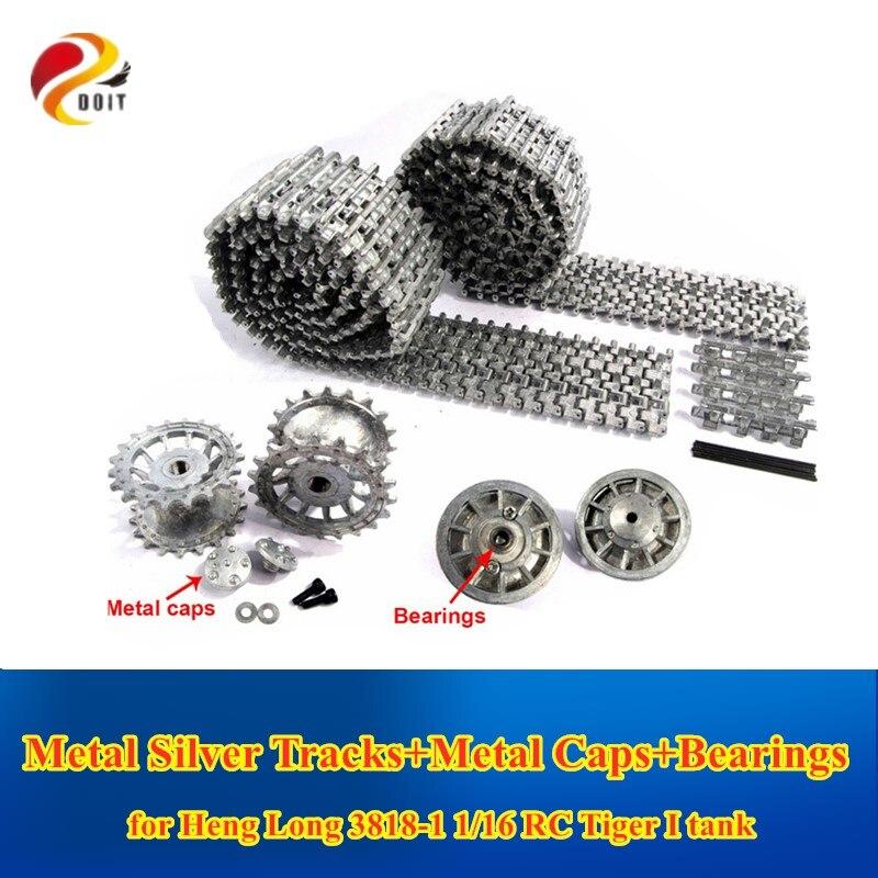 DOIT Metall Silber Tracks Kettenräder Früh mit Metall Kappen Spann Räder mit Lager für Heng Lange 3818 1 16 RC tiger 1 tank
