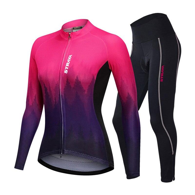 STRAVA-trajes de Ciclismo de manga larga para mujer de pantalones con cojín...