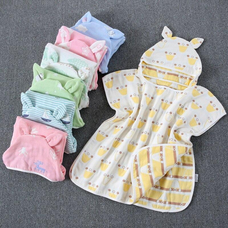 Toalla de playa con capucha de 6 capas de 60x60 cm, toalla de algodón para bebé, Poncho suave, ropa de baño para niños, paño de baño para bebés
