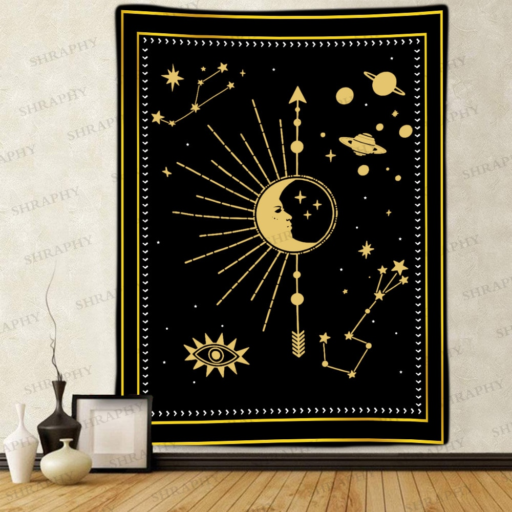 Гобелен с изображением Луны и солнца, таро, созвездия, искусство, настенные подвесные гобелены для гостиной, для дома и общежития Decor