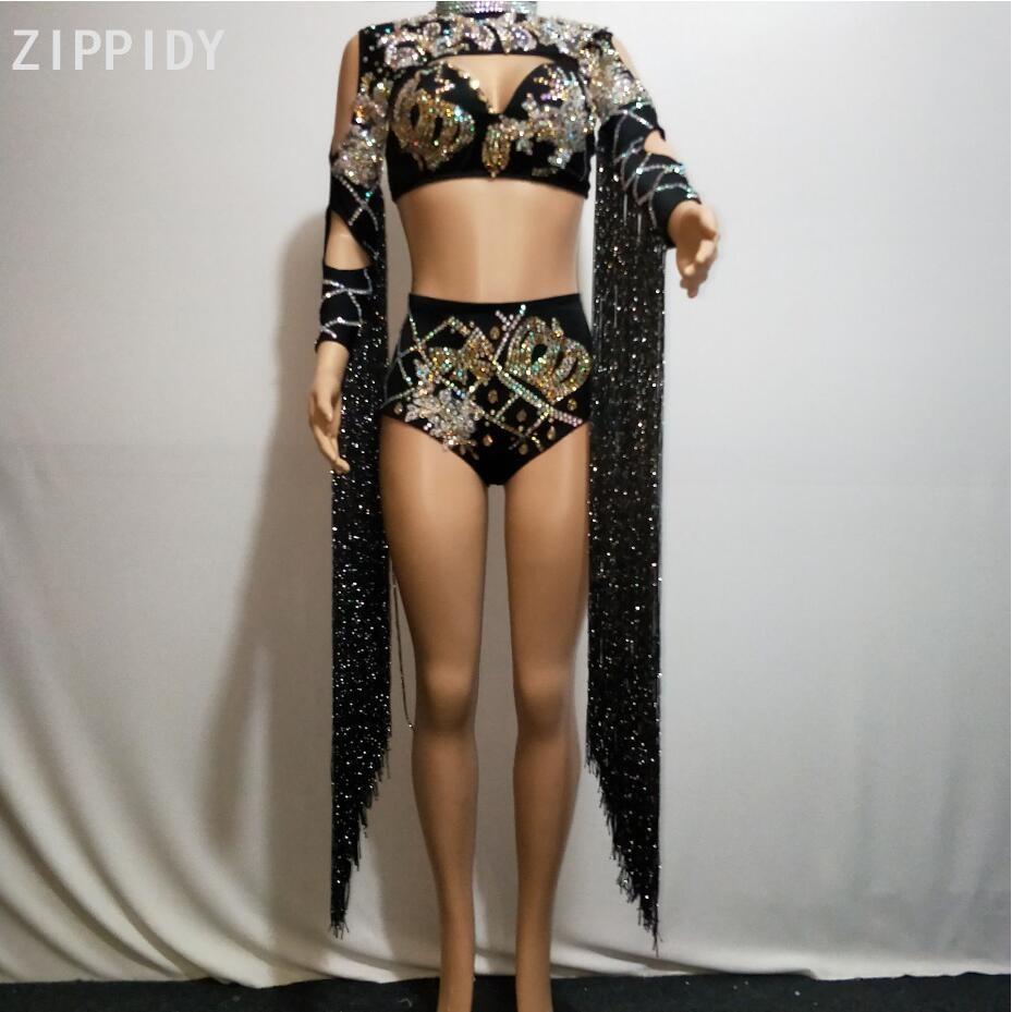 Black Long Tassel Sleeves Rhinestones Top Short Nightclub DJ Singer Dancer Show Clothes Birthday Celebrate Outfit Set