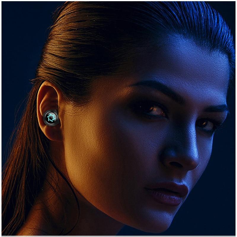 Display Bluetooth V5.0 Wireless Headphone, In-Ear Stereo Headphones with Sports Waterproof Earbuds Touch Control Earphones enlarge
