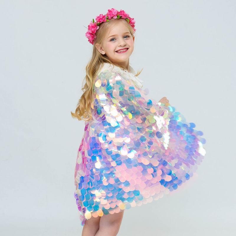 Chal de sirena con lentejuelas brillantes, ropa de bebé, manto de princesa de cielo estrellado de hilo suave, capa de Cosplay de Halloween E202049