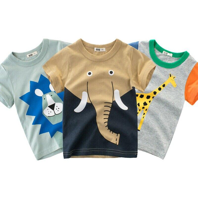 Ropa de verano 2020 informal para niños con caricaturas patrones de animales, camisetas para niños pequeños, camisetas de algodón de manga corta de 1 a 10 años