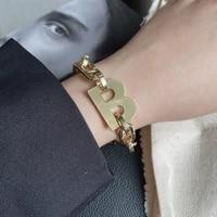 kirykle 2021 new design gold color metal letter b bracelets for women thick link chain bracelet fashion jewelry charm bracelet