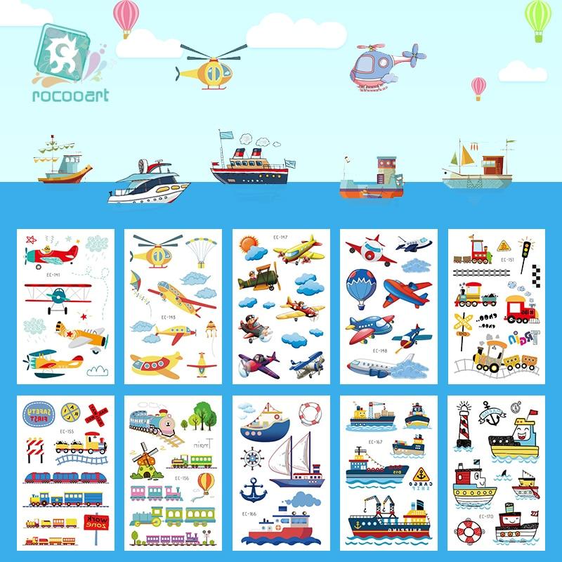 Rocooart dibujos animados lindos coches niño temporal Arte del cuerpo Flash tatuaje pegatina impermeable Bus aire aviones barco vehículo tatuaje