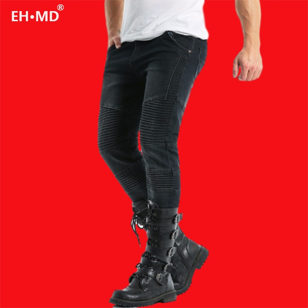 EH · MD® Stitching Jeans Men's Skin-tight Washed Slim-fit Three-dimensional Pleated High-elastic Solid Color Small Feet Black