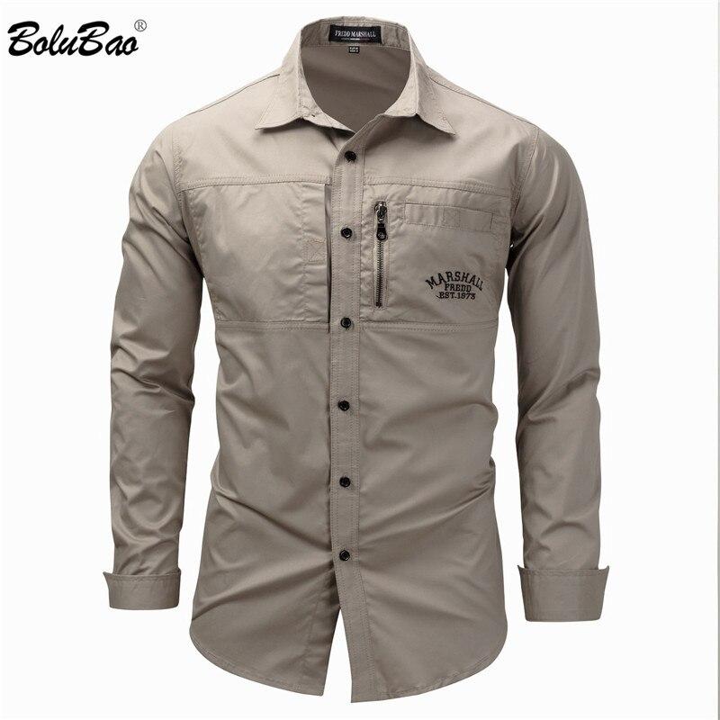 Бренд BOLUBAO, мужские однотонные рубашки, высокое качество, мужские топы в стиле милитари, хлопковая рубашка с длинным рукавом, уличные повсед...