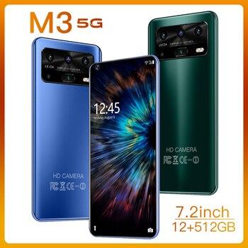 Téléphone portable Android M3, 12 go 512 go, caméra HD, 7.2 pouces, 5600mAh, Version globale, 4G/5G