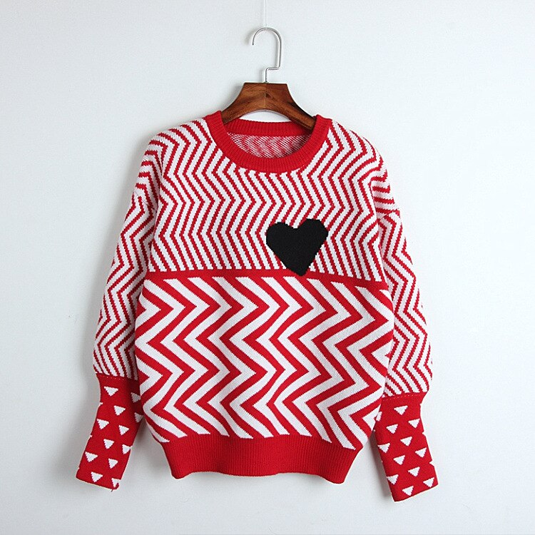 2020 Spring Sweater Free Shipping Fashion Womens Clothes Black Red Striped  Kint Crew Neck Long Sleeve      DL