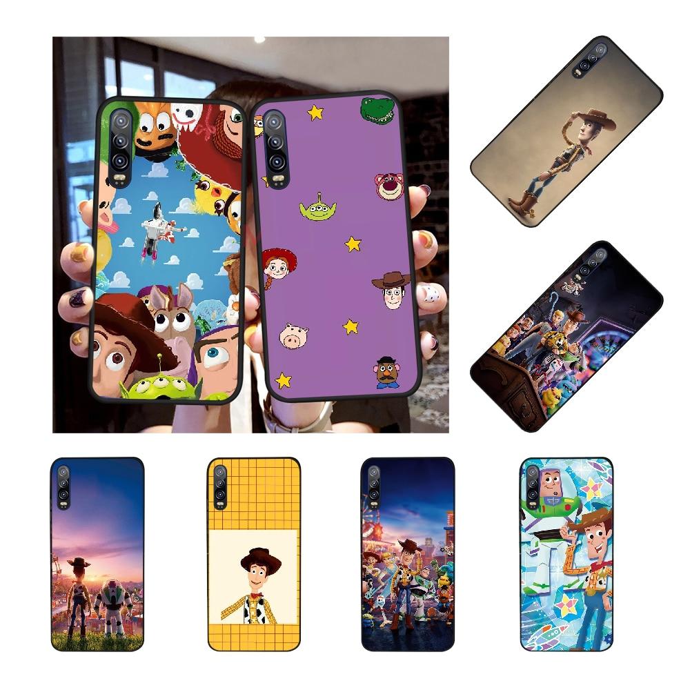 NBDRUICAI juguete historia 4 Buzz Lightyear Woody suave negro Funda del teléfono carcasa Capa para Huawei P30 P20 P10 P9 P8 amigo 20 10 Pro Lite