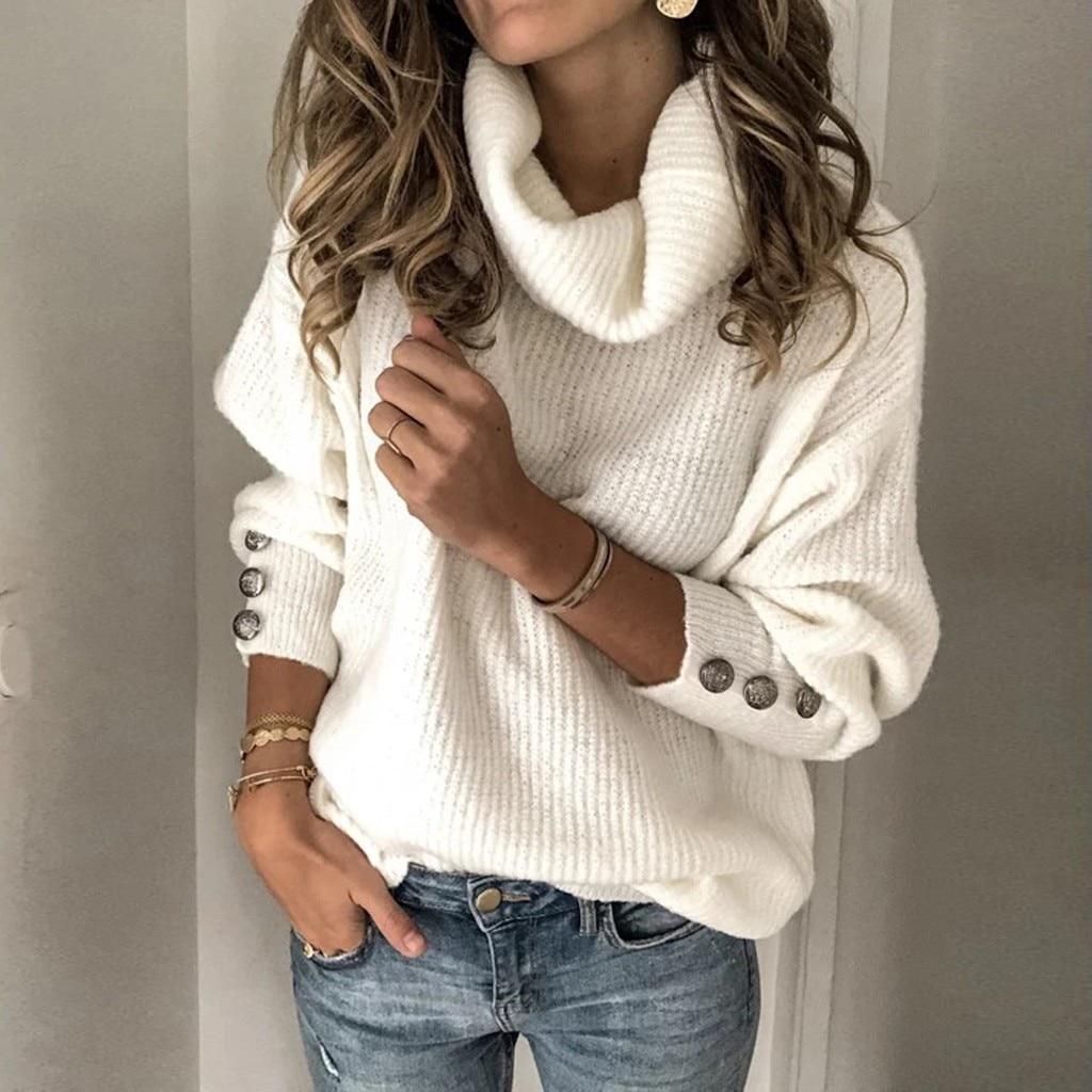 Свитер с пуговицами, Женский пуловер с высоким воротом, Свободный вязаный Топ с длинным рукавом, зимний свитер Харадзюку, col roul femme jersey mujer