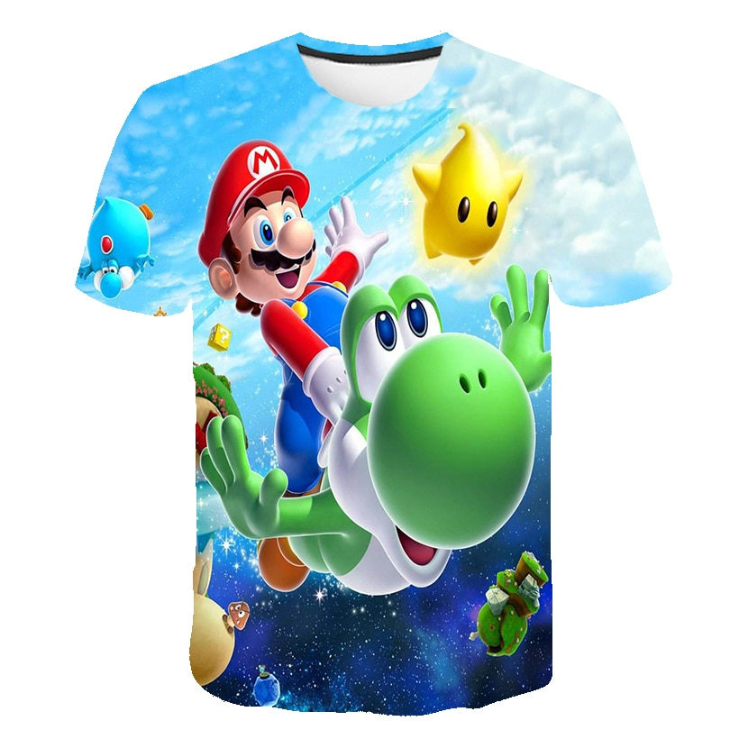 2021 Summer Mario-Bros T Shirt Boys Clothes Kids Girls Shirts Children Clothing Baby Boys Tshirts Kid Girl Tops Tee Cartoon