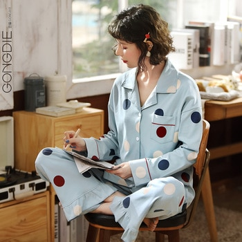 Gongdie Pajamas Women's Spring and Autumn Cotton Long Sleeve Thin Two-Piece Suit Dot Polka Dots Printed Cartoon Home Wear Autumn