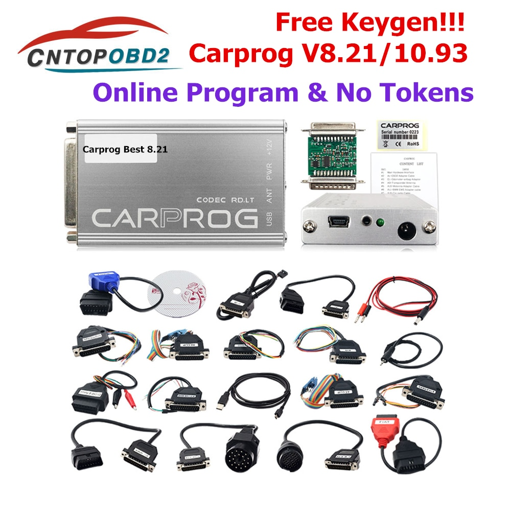 Newly Carprog V8.21 Online with keygen Car Prog V10.93 ECU Chip Tunning Universal Repair Tool with 21 Adapters Car Diagnost Tool