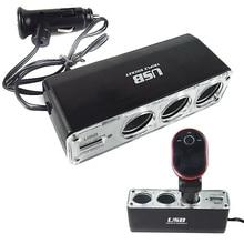 12V 3-Socket Cigarette Lighter Socket Splitter Plug USB Charger Fast Car Charger Power Adapter Car Styling