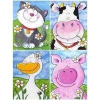 YI LUMINEUX 5D BRICOLAGE Carre Diamant Peinture Dessin Anime Animal Vache Point De Croix Mosaique Broderie Fait Main Art Decoration De La Maison