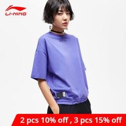 Li-ning feminino bad cinco camisa de basquete 100% algodão respirável t-shirts solto ajuste li ning forro esportes t ahsp012 wts1484