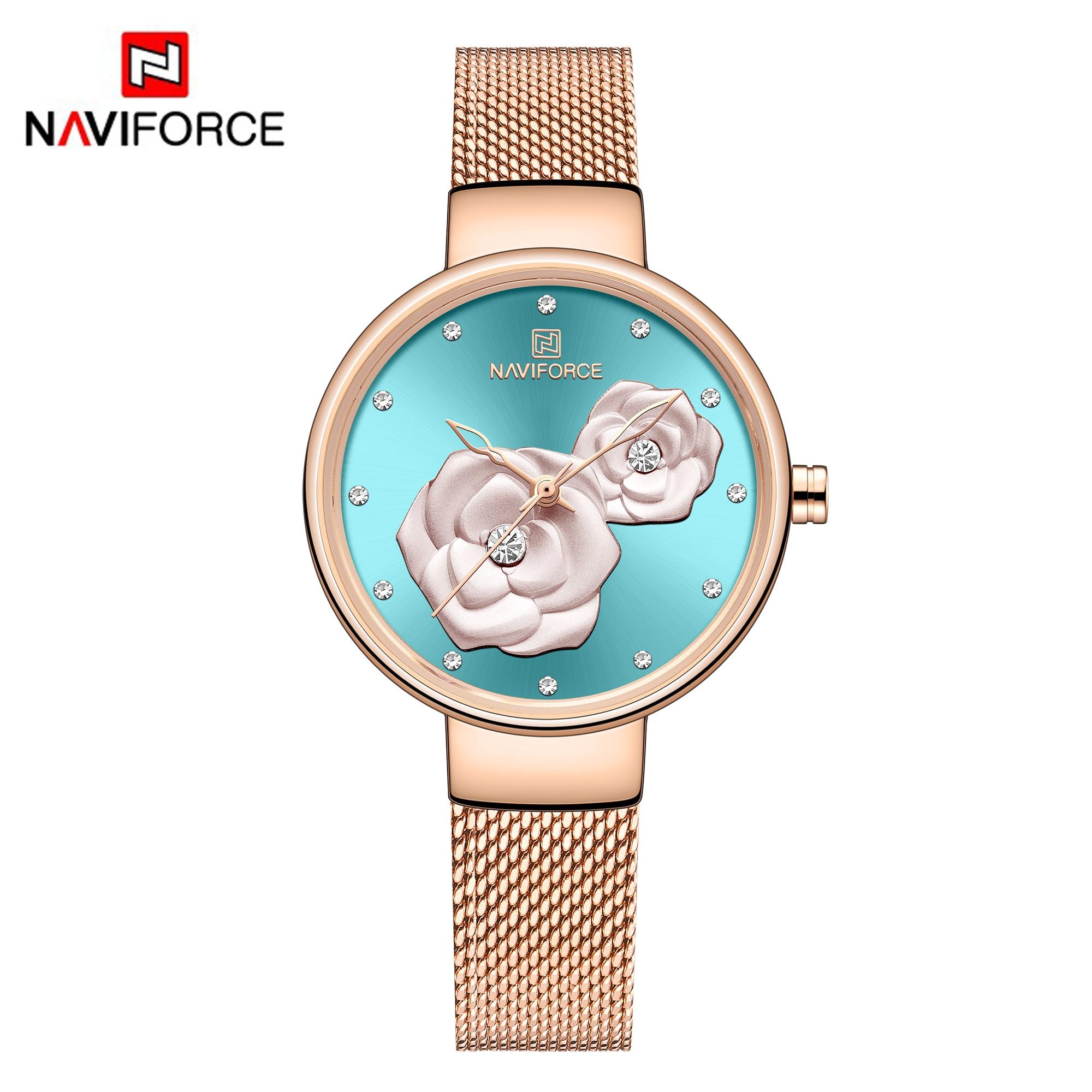 NAVIFORCE Beautiful Flower Design Watches Women Fashion Casual Crystal Wristwatch Ladies Watch Female Clock Women's Quartz Watch enlarge