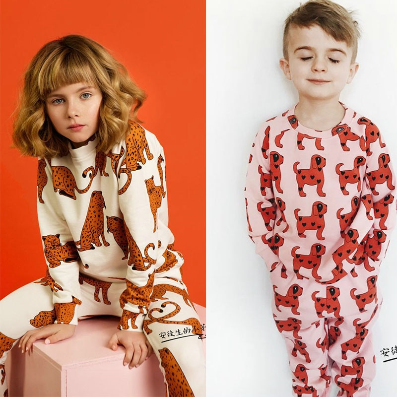 EnkeliBB-بيجاما مطبوعة بطبعة جلد الفهد والكلاب ، ملابس ذات علامة تجارية ، للأولاد والبنات ، ملابس أطفال عالية الجودة ، لفصل الشتاء