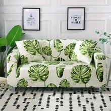 Feuilles imprimé housse de canapé Spandex pour salon élastique complet enveloppé canapé chaise couvre Stretch 1/2/3/4 siège sectionnel canapé