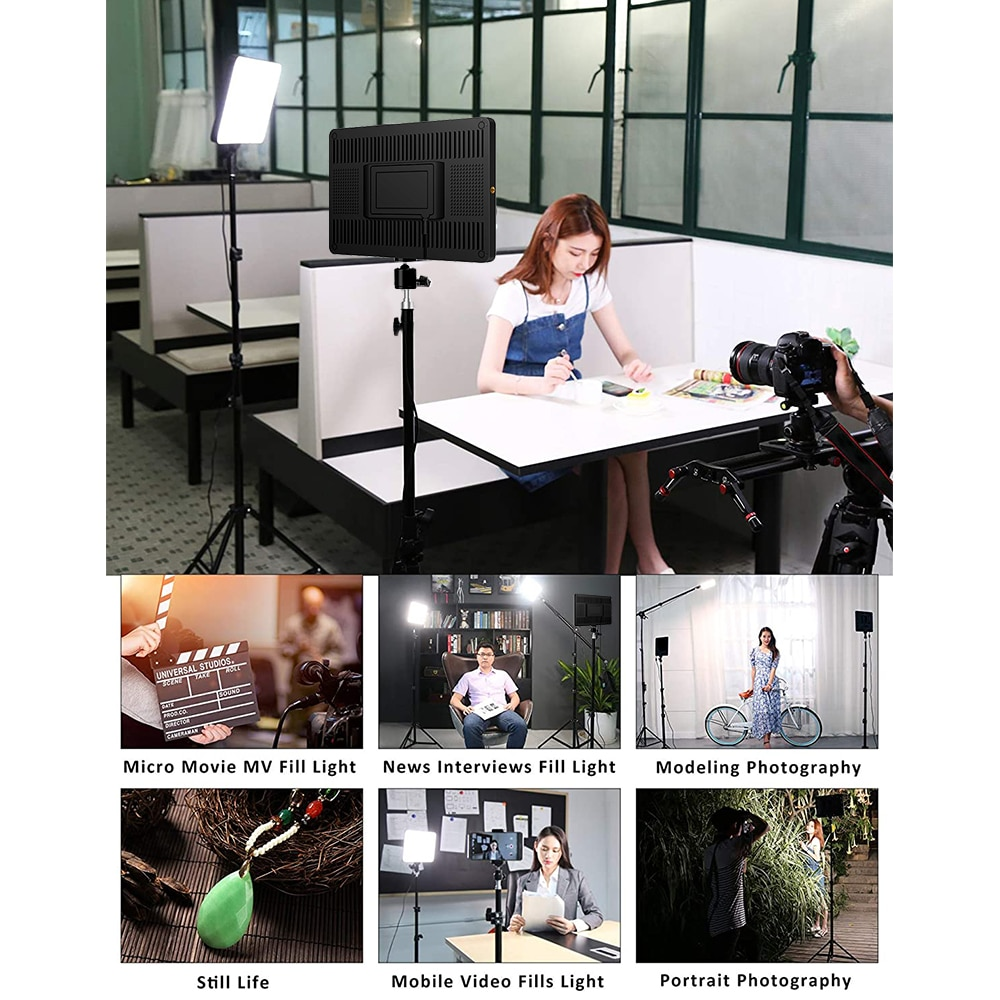 LED Video Light With Professional Tripod Stand Remote Control Dimmable Panel Lighting Photo Studio Live Photography Fill-in Lamp enlarge