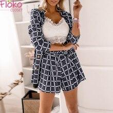 Flokocloset Women Short Suits Autumn Long Sleeve Cardigan Blazer Shorts Solid 2 Piece Set Lady Casua