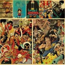 Nouveau une pièce Vintage affiche Luffy Anime dessin animé Kraft papier peinture Art mur maison garçons cadeaux décor