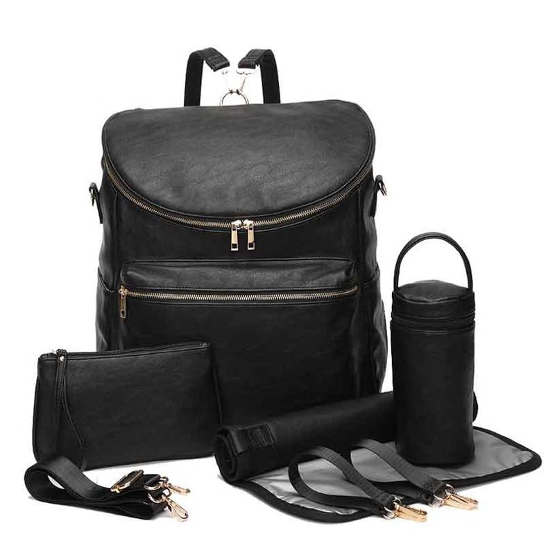 حقيبة ظهر كبيرة من جلد البولي يوريثان لحفاضات الأطفال ، حقيبة ظهر للسفر ، حقيبة حفاضات للأمهات