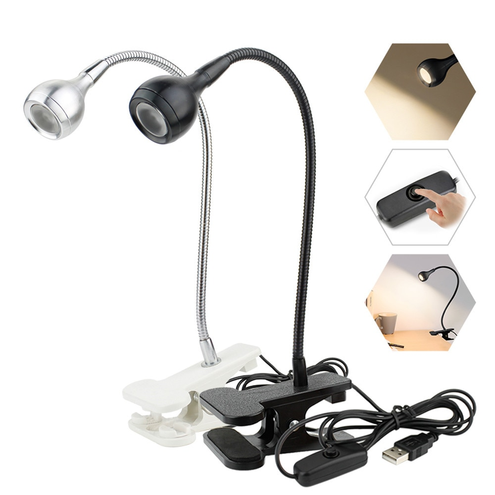 3W Led Desk Lamp With Clip DC 5V USB Flexible LED Stand Reading Light Clip-on Beside Bed Table Book